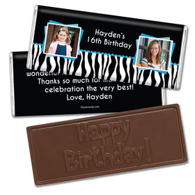 Birthday Personalized Embossed Chocolate Bar Zebra Then & Now Photos