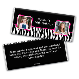 Then and Now Stripes Personalized Candy Bar - Wrapper Only
