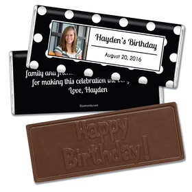 Birthday Personalized Embossed Chocolate Bar Polka Dot Photo