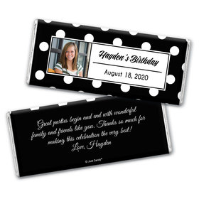 Birthday Polka Dot Photo Personalized Candy Bar - Wrapper Only