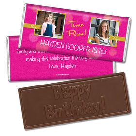 Birthday Personalized Embossed Chocolate Bar Time Flies Then & Now Photo