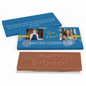 Deluxe Personalized Time Flies Then & Now Photo Adult Birthday Chocolate Bar in Gift Box