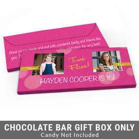 Deluxe Personalized Time Flies Then & Now Photo Adult Birthday Candy Bar Favor Box