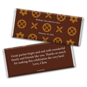 Chocolate Pattern Personalized Candy Bar - Wrapper Only