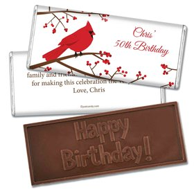 Birthday Personalized Embossed Chocolate Bar Red Cardinal