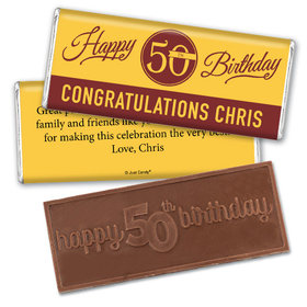 50th Birthday Personalized Embossed Chocolate Bar Timeless Age Circle