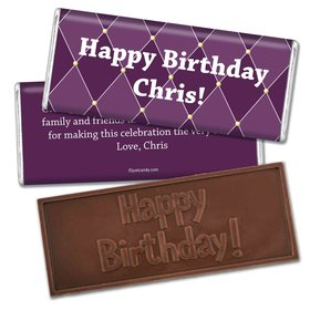 Birthday Personalized Embossed Chocolate Bar Argyle