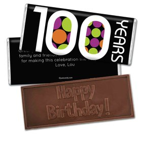 100th Birthday Personalized Embossed Chocolate Bar 100 Polka Dots Century