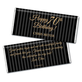 Milestones Personalized Chocolate Bar 70th Birthday Favors