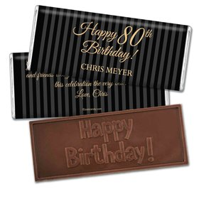 Milestones Personalized Embossed Chocolate Bar 80th Birthday Favors