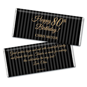 Milestones Personalized Chocolate Bar 80th Birthday Favors