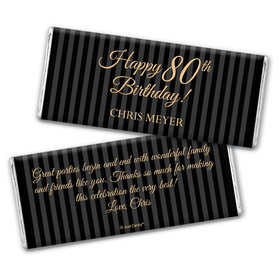 Formal Birthday Personalized 80th Birthday Candy Bar - Wrapper Only