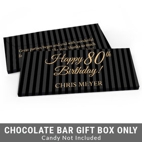 Deluxe Personalized Pinstripe 80th Birthday Candy Bar Favor Box