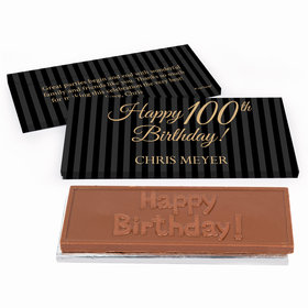 Deluxe Personalized Pinstripe 100th Birthday Chocolate Bar in Gift Box