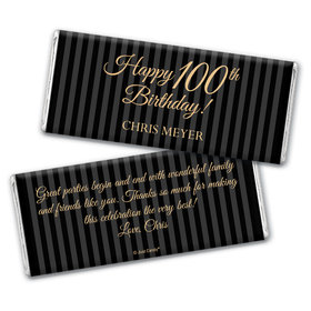 Formal Birthday 100th Personalized Candy Bar - Wrapper Only