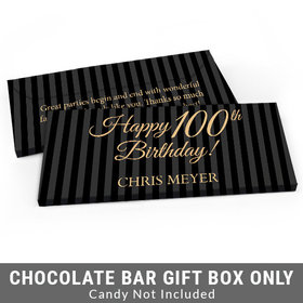Deluxe Personalized Pinstripe 100th Birthday Candy Bar Favor Box
