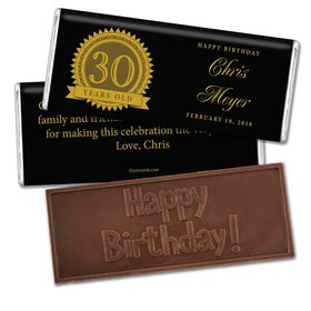 Seal of Experience Embossed Happy 30th Birthday Bar Assembled