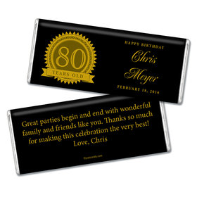 Milestones Personalized Chocolate Bar Candy 80th Birthday Favors