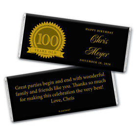Seal of Experience Personalized 100th Birthday Candy Bar - Wrapper Only