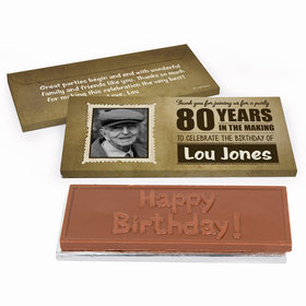 Deluxe Personalized 80th Birthday Chocolate Bar in Gift Box