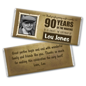 Milestones Personalized 90th Birthday Candy Bar - Wrapper Only