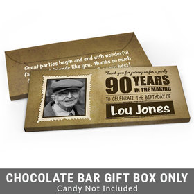 Deluxe Personalized 90th Birthday Candy Bar Favor Box