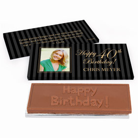 Deluxe Personalized Photo 40th Birthday Chocolate Bar in Gift Box