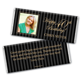 Formal Photo 40th Birthday Personalized Candy Bar - Wrapper Only