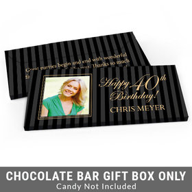 Deluxe Personalized Photo 40th Birthday Candy Bar Favor Box