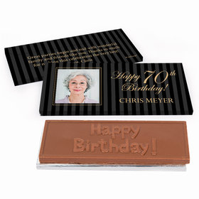 Deluxe Personalized Photo 70th Birthday Chocolate Bar in Gift Box