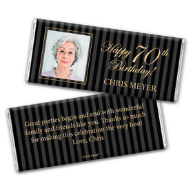 Formal Photo Personalized 70th Birthday Candy Bar - Wrapper Only