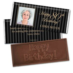 Milestones Personalized Embossed Chocolate Bar 80th Birthday