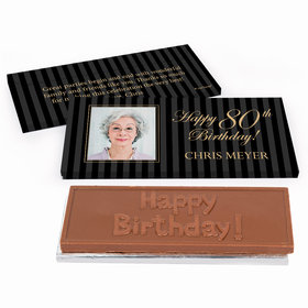 Deluxe Personalized Photo 80th Birthday Chocolate Bar in Gift Box