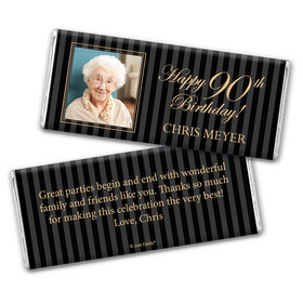 Formal Photo Personalized 90th Birthday Candy Bar - Wrapper Only