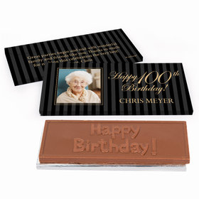 Deluxe Personalized Photo 100th Birthday Chocolate Bar in Gift Box