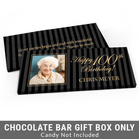 Deluxe Personalized Photo 100th Birthday Candy Bar Favor Box