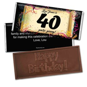 Milestones Personalized Embossed Chocolate Bar 40th Birthday Commemorate