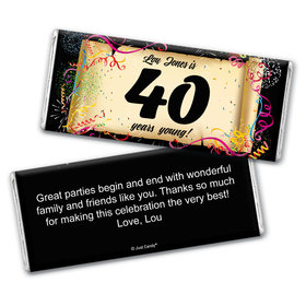 Commemorate 40th Personalized Candy Bar - Wrapper Only