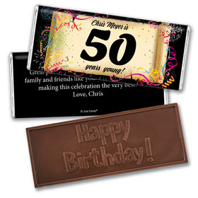 Milestones Personalized Embossed Chocolate Bar 50th Birthday Commemorate