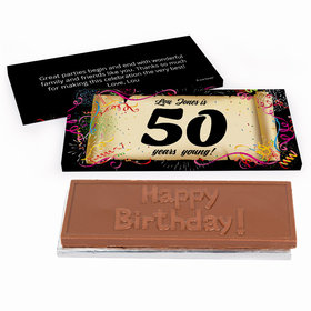 Deluxe Personalized 50th Confetti Birthday Birthday Chocolate Bar in Gift Box