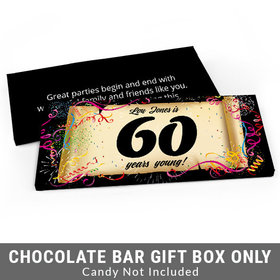 Deluxe Personalized 60th Confetti Birthday Birthday Candy Bar Favor Box