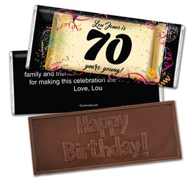 Milestones Personalized Embossed Chocolate Bar 70th Birthday Commemorate