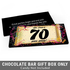 Deluxe Personalized 70th Confetti Birthday Birthday Candy Bar Favor Box