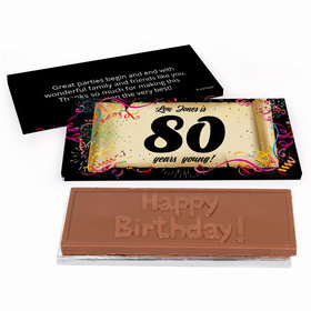Deluxe Personalized 80th Confetti Birthday Birthday Chocolate Bar in Gift Box