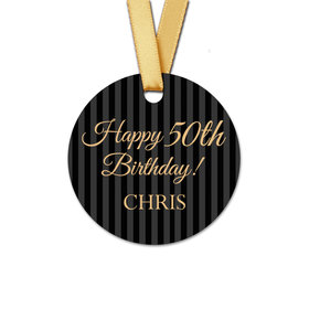 Personalized Birthday Formal Pinstripes Round Favor Gift Tags (20 Pack)