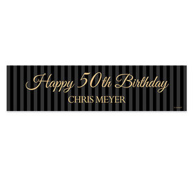 Personalized 50th Regal Pinstripe Birthday Banner