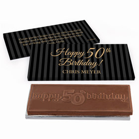 Deluxe Personalized Elegant Formal Pinstripes Adult Birthday Chocolate Bar in Gift Box