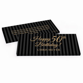 Deluxe Personalized Elegant Formal Pinstripes Adult Birthday Hershey's Chocolate Bar in Gift Box