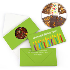 Personalized Birthday Lit Candles Birthday Gourmet Infused Belgian Chocolate Bars (3.5oz)