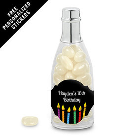 Birthday Personalized Champagne Bottle Lit Candles (25 Pack)